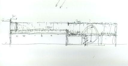Schizzo di studio del tetto-giardino pensile